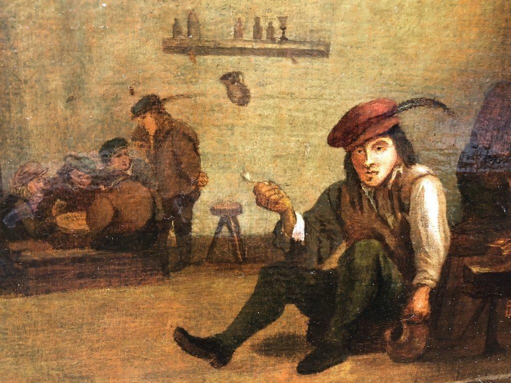 Ptg of tavern interior, with DT monogram, 19thc - 2