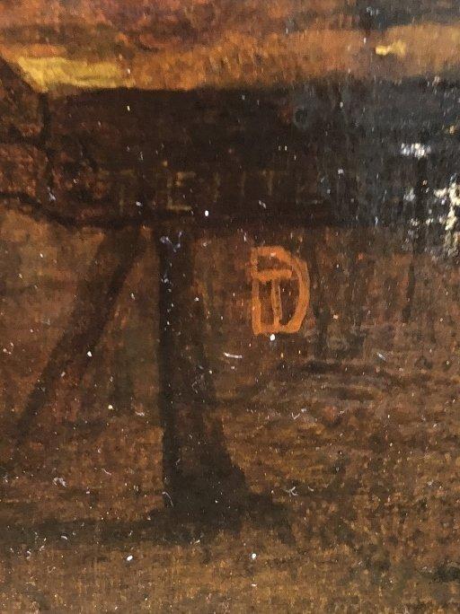 Ptg of tavern interior, with DT monogram, 19thc - 9