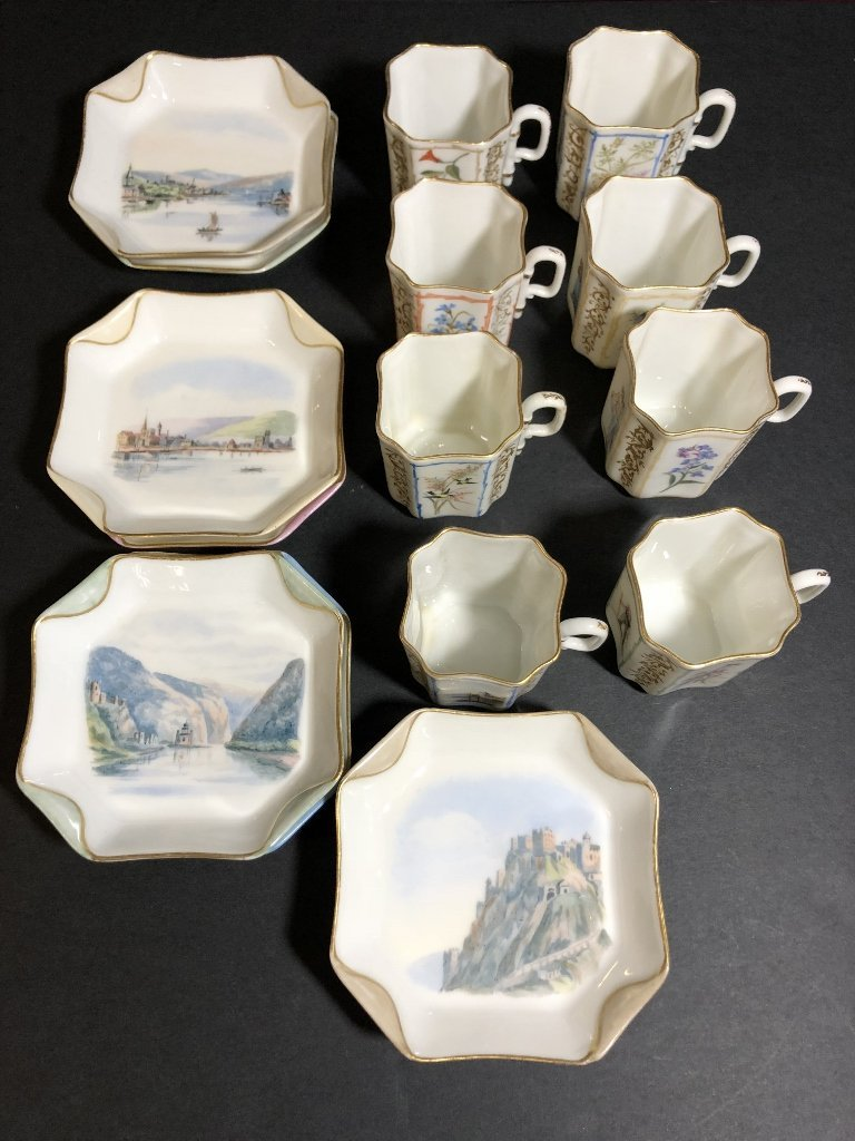 Eight cup and saucers by Haviland Limoges