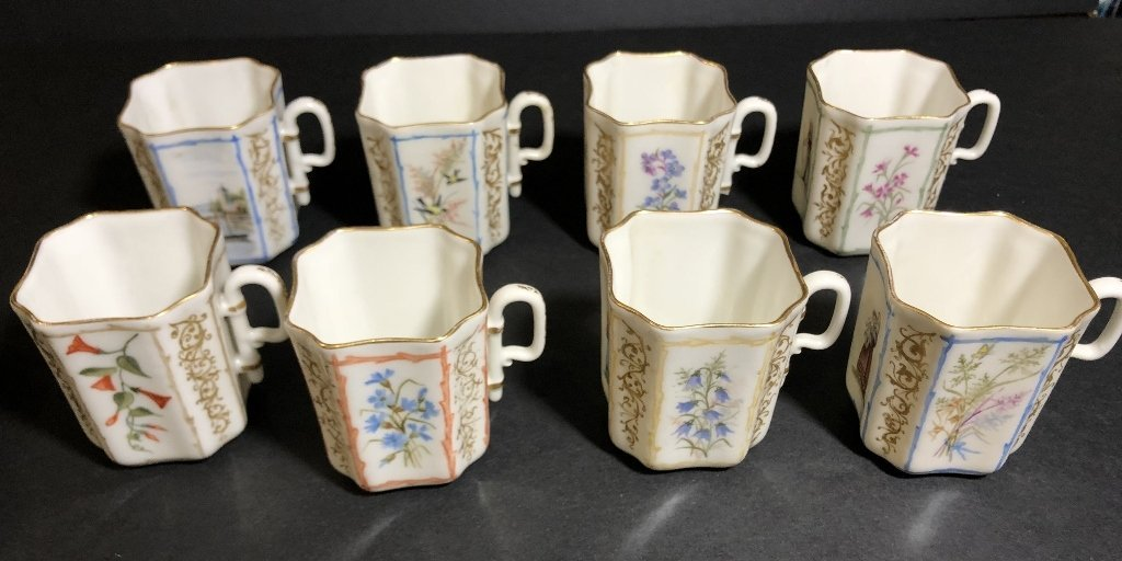 Eight cup and saucers by Haviland Limoges - 2