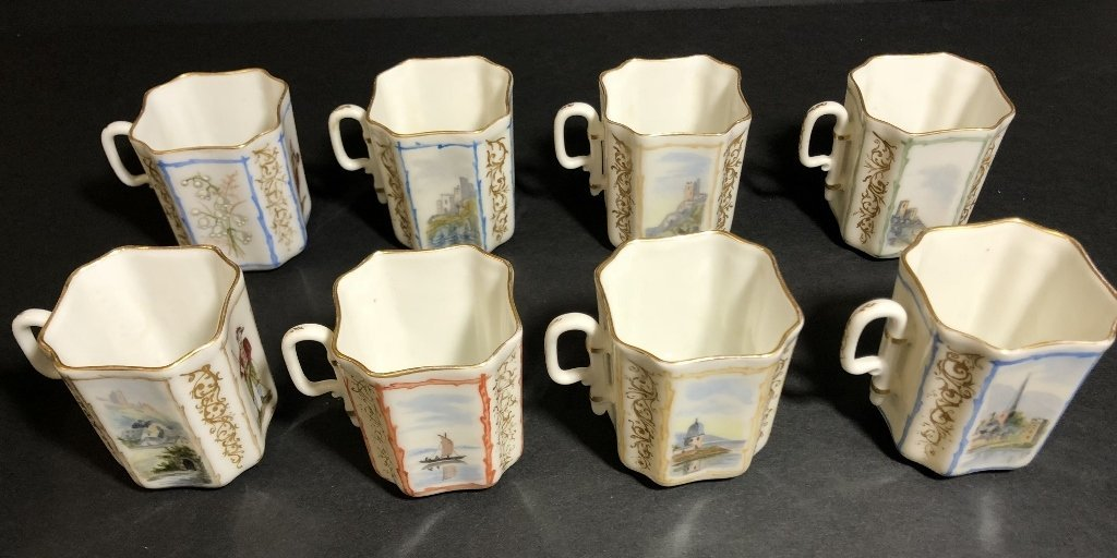 Eight cup and saucers by Haviland Limoges - 3
