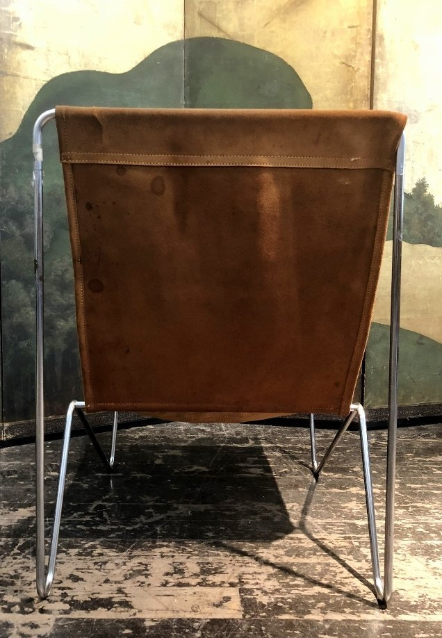 Modern suede and chrome chair - 4