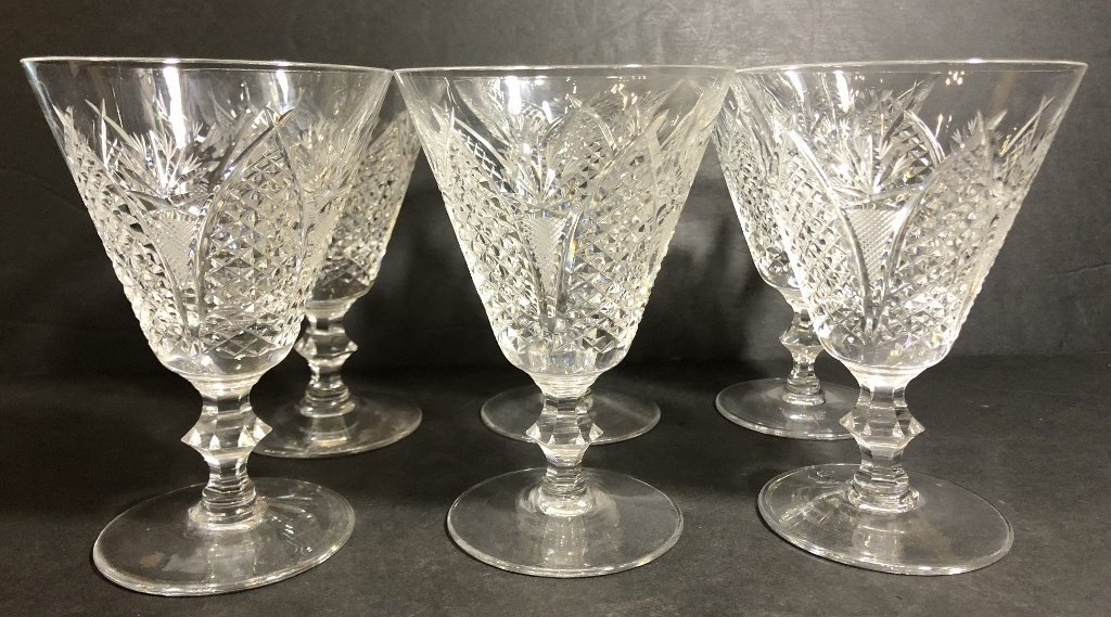 Six engraved Waterford glasses, circa 1930