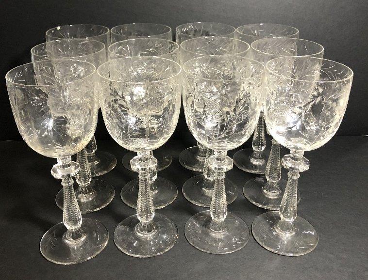 Twelve engraved wine glasses, circa 1930 - 2