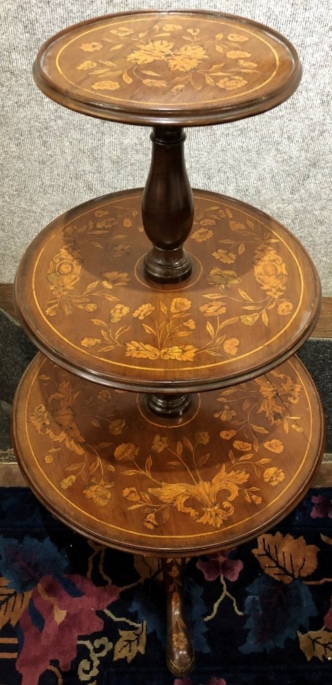 Dutch marquetry three tiered table, c.1900