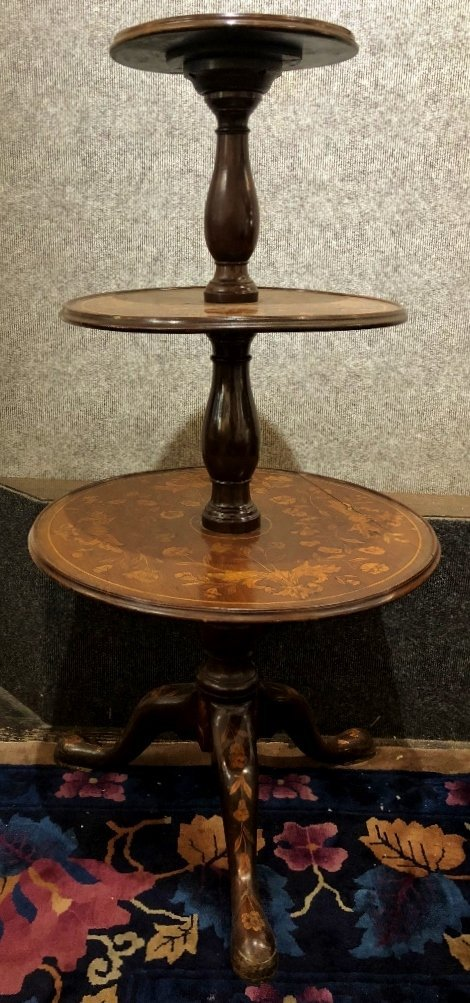 Dutch marquetry three tiered table, c.1900 - 2