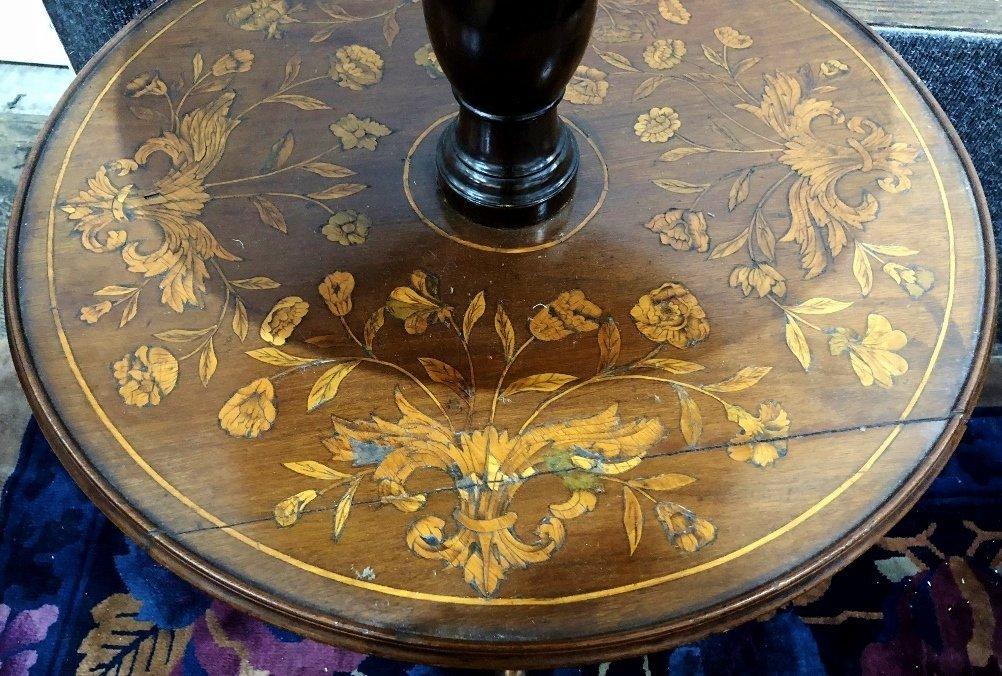 Dutch marquetry three tiered table, c.1900 - 4