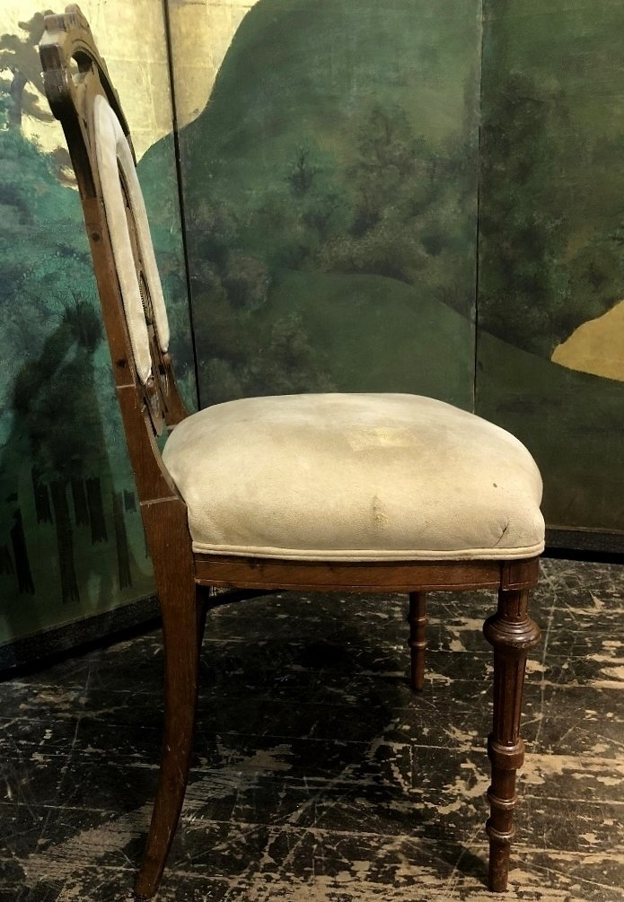 Wood side chair with porcelain plaque, c.1880 - 3