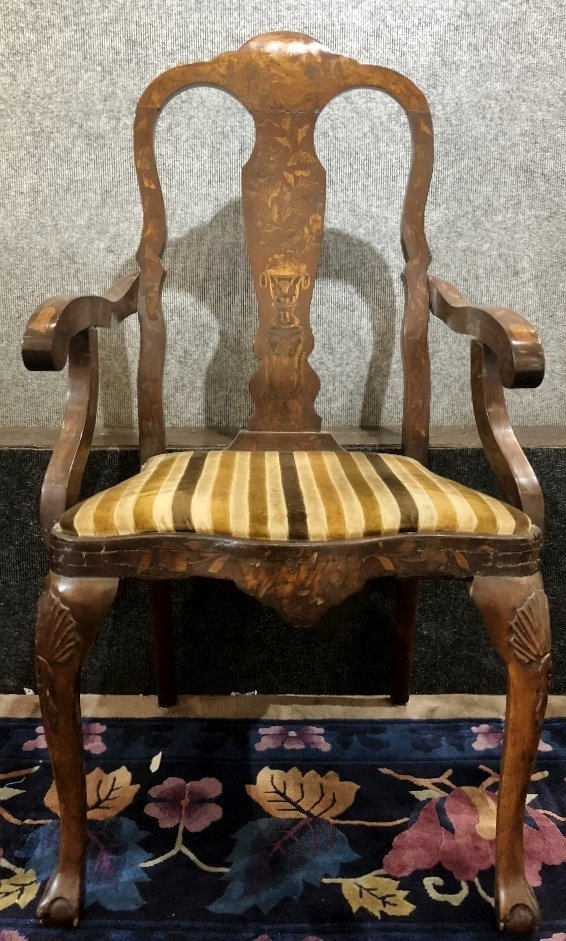 Dutch marquetry armchair, c.1900