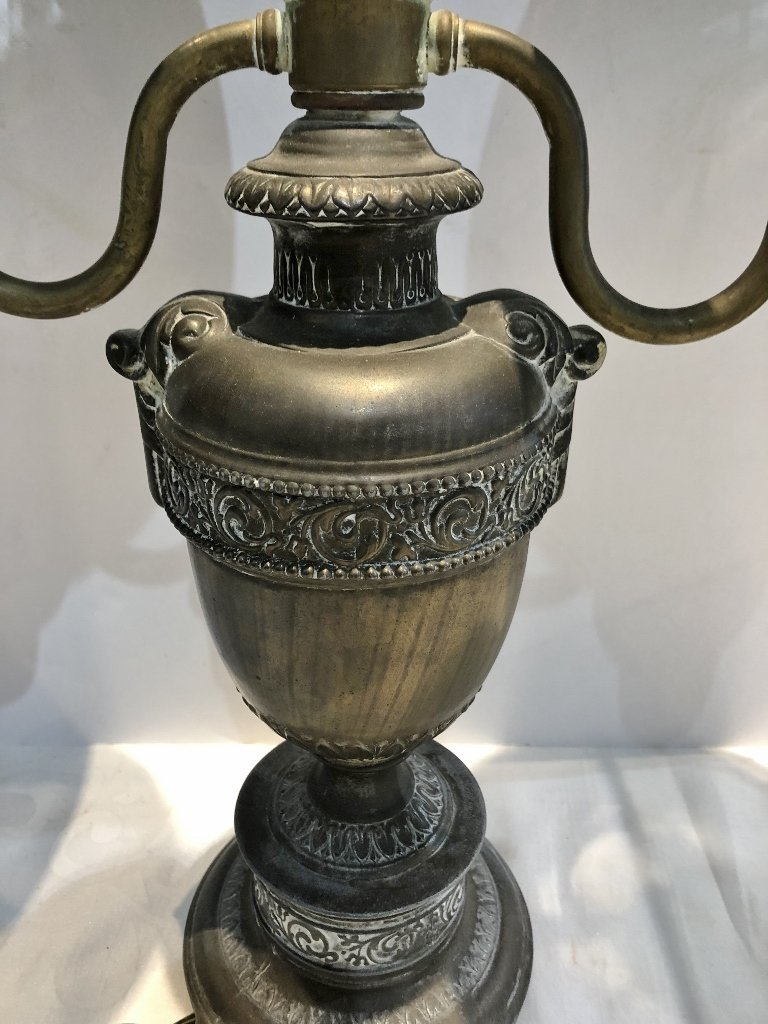 Early brass lamp with green glass shades - 3