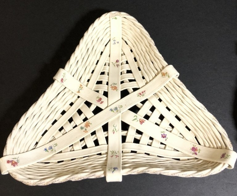 Two triangular European ceramic trays, c.1900 - 2