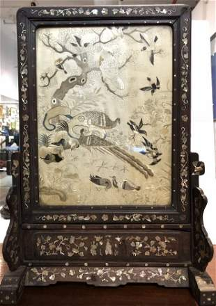 Chinese silk embroidery table screen, 19th century