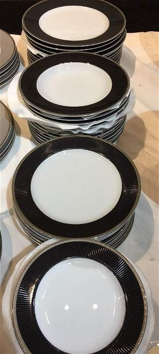 Black Metropolis partial dinner service by Christofle