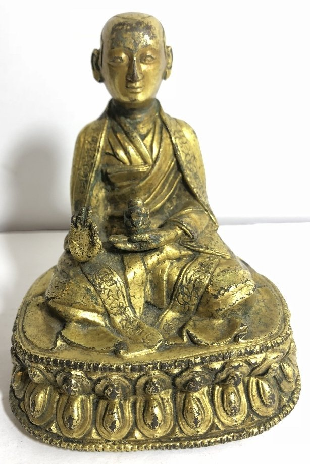 Tibet gilt bronze monk, c.1850