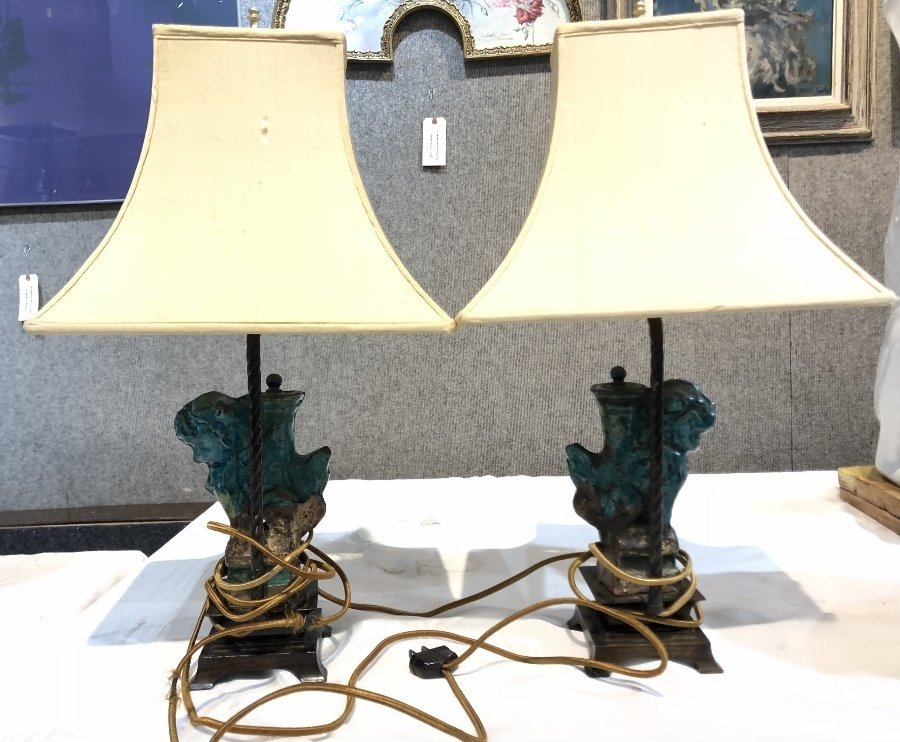 Pair Chinese Ming lamps - 7