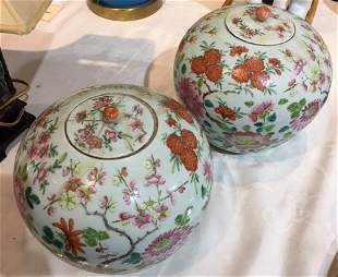 Pair of Chinese vases-one lid cracked