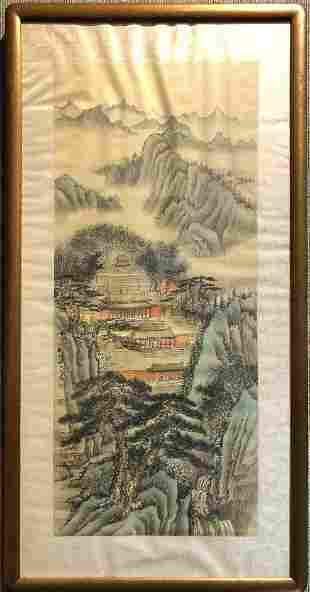 Chinese scroll painting of mountains, signed