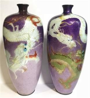 Pair of Japanese silver enamel dragon vases,c.1900