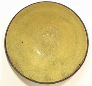 19th century Japanese yellow glaze bowl