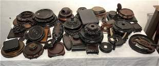 Fifty eight Chinese wood stands and parts