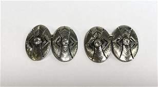 Plat, diamond and 14k cufflinks, c.1925, 5.9 dwts