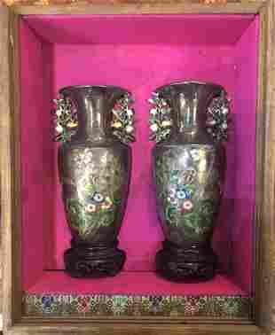 Pair of Chinese silver enamel vases, c.1930 w/box