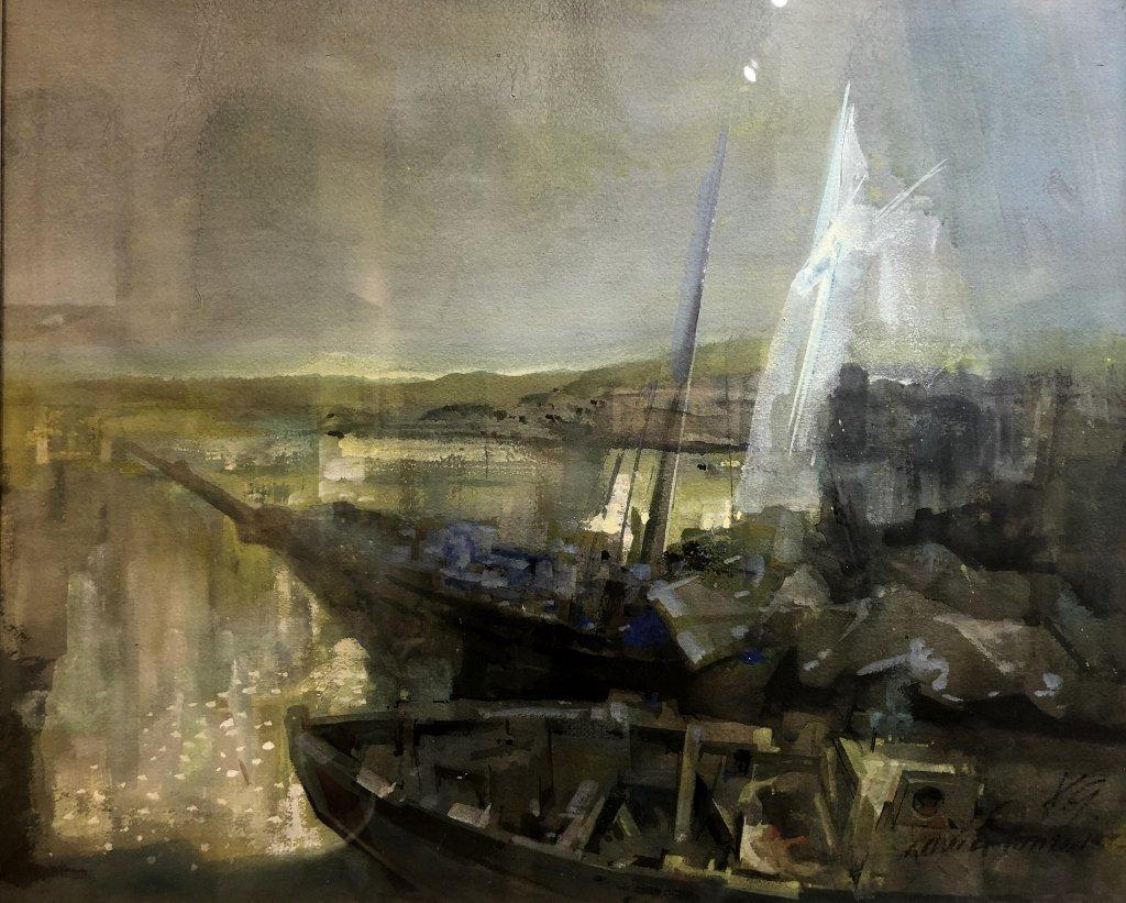 Xavier Gonzalez watercolor, Bahia Verdigris.c1970 - 2
