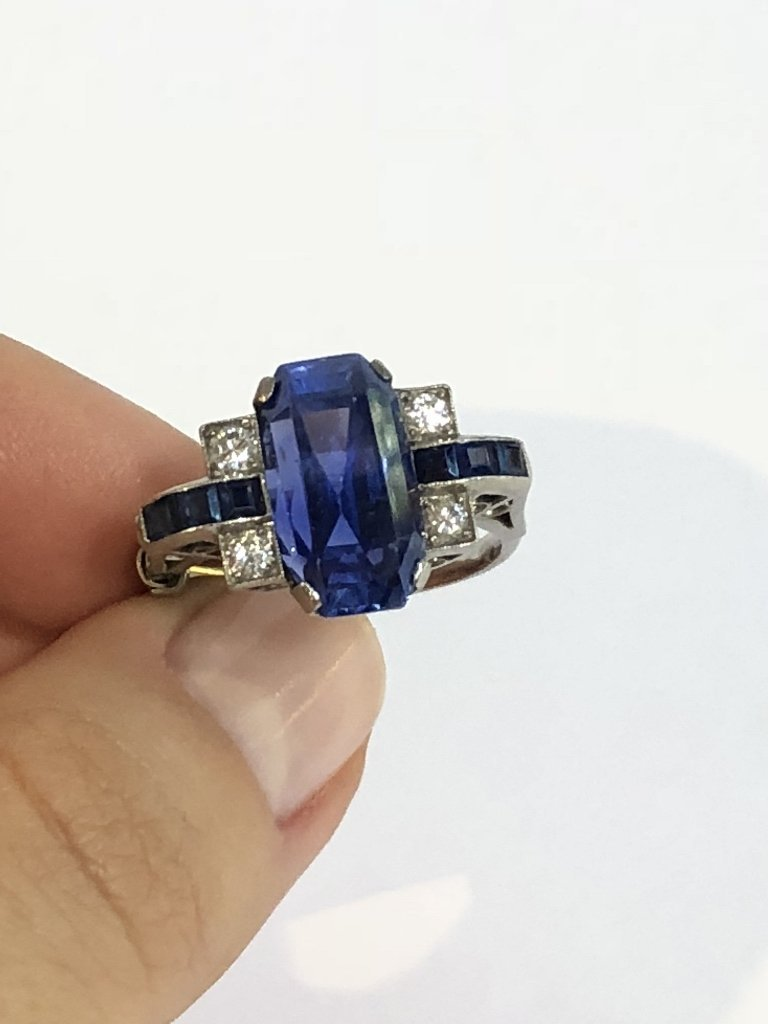 Natural sapphire art deco diamond ring, c.1925,GIA - 10