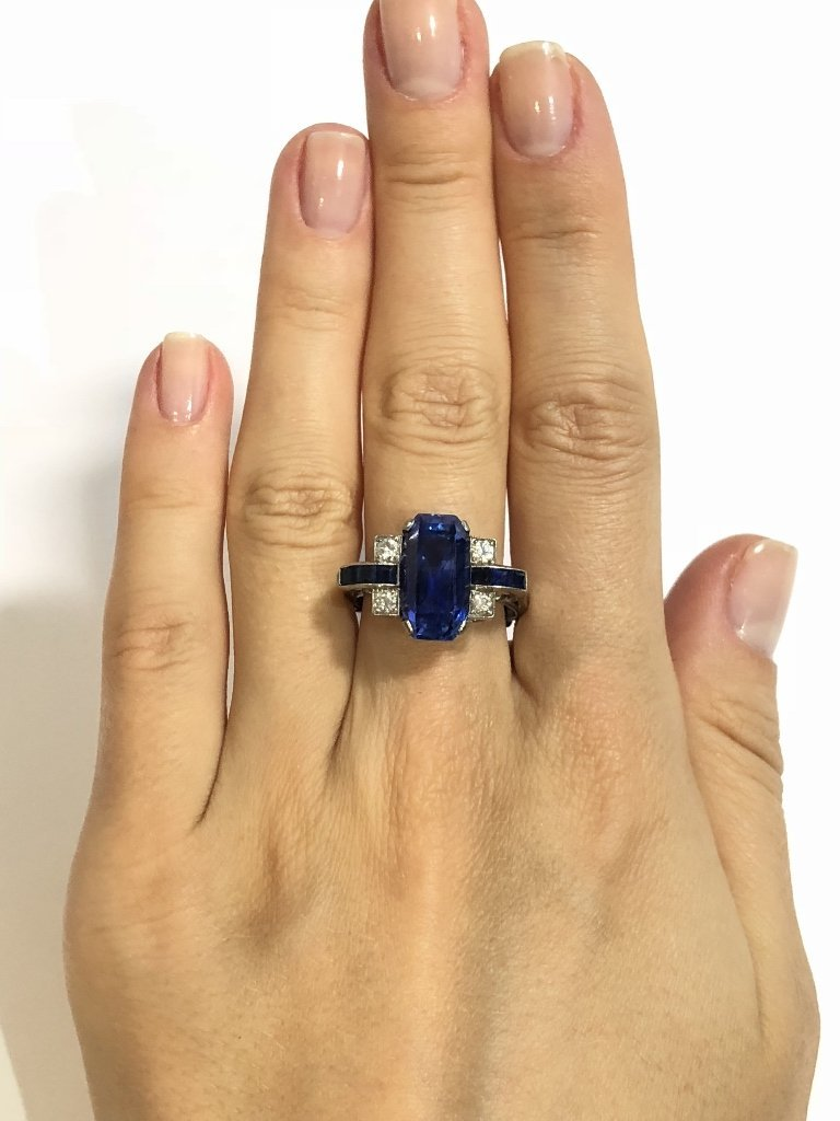Natural sapphire art deco diamond ring, c.1925,GIA - 2