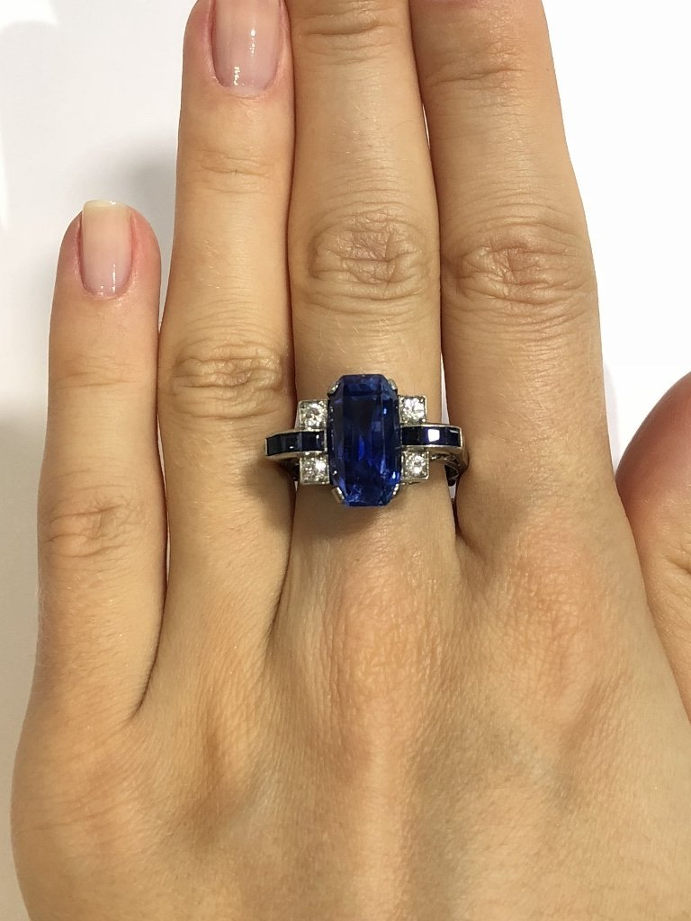 Natural sapphire art deco diamond ring, c.1925,GIA - 3