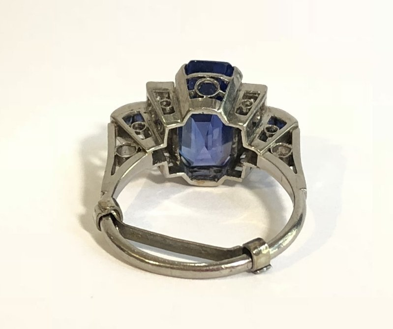 Natural sapphire art deco diamond ring, c.1925,GIA - 5