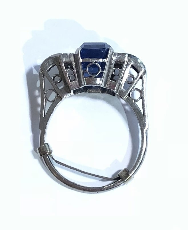 Natural sapphire art deco diamond ring, c.1925,GIA - 9