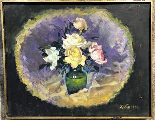 Oil on canvas painting of flowers by Xavier Gonzales