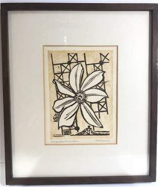 """Woodcut print by Erich Heckel, """"Clematisblute"""""""