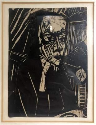 """Woodcut(reduced)by Erich Heckel,""""Beim Vorlesen"""""""
