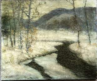 Painting of stream in snow by David Daly, c.1910
