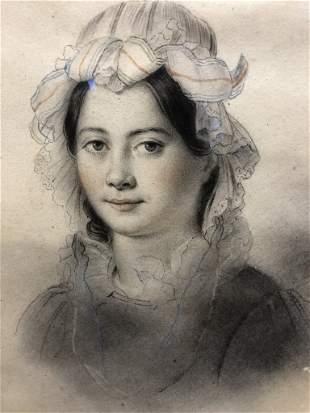 Lancrenon watercolor portrait of his wife, c.1830