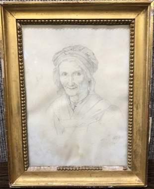 Lancrenon pencil drawing of an old woman, c.1850