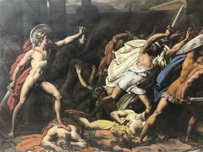 Gouache of Perseus holding Medusa's head ,J.F.Lancrenon