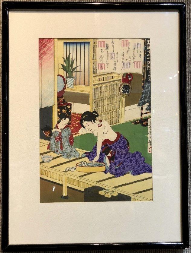 Woodblock of Geisha,Toyohara Kunichika.c1880