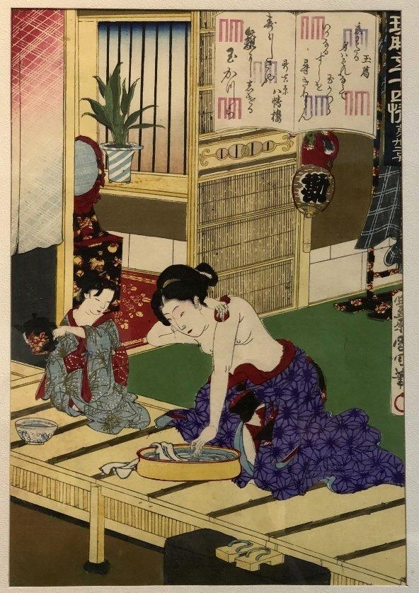 Woodblock of Geisha,Toyohara Kunichika.c1880 - 4