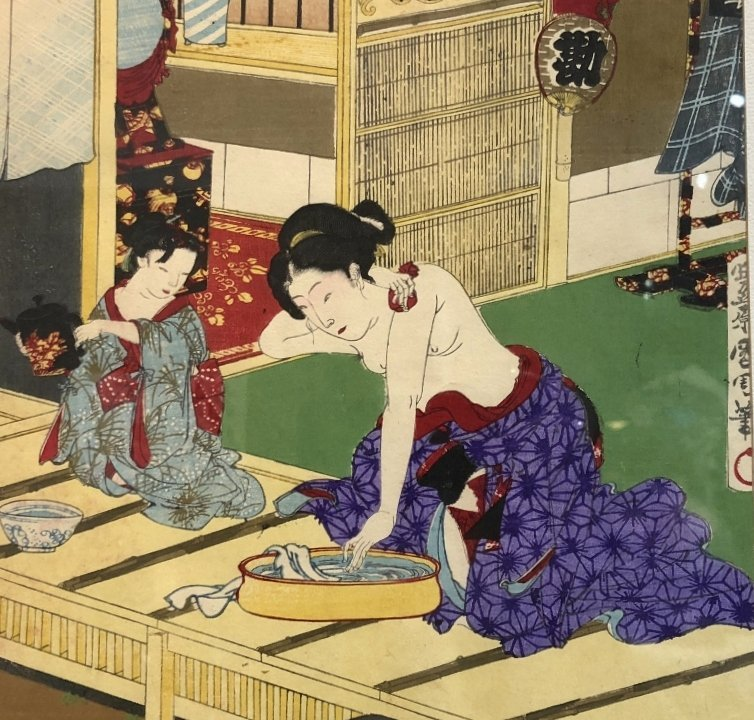 Woodblock of Geisha,Toyohara Kunichika.c1880 - 5