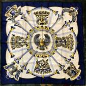 Hermes silk scarf, blue and gold