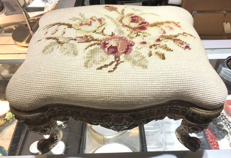 Cast iron upholstered foot stool,c.1900