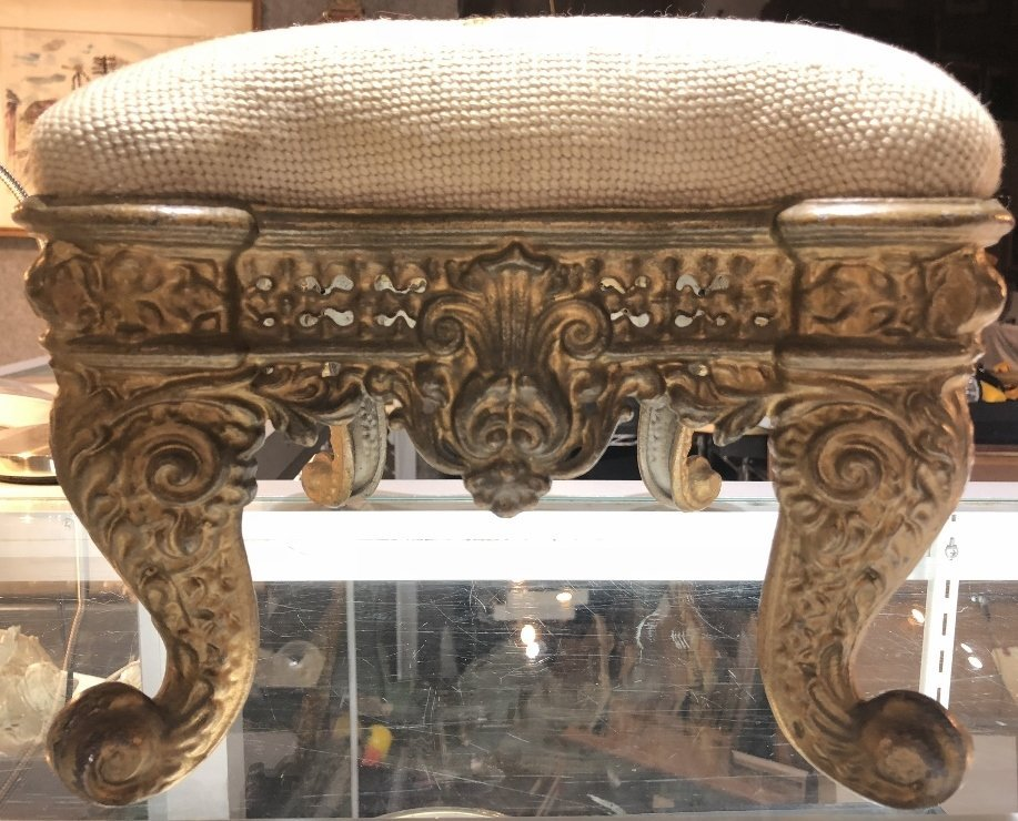 Cast iron upholstered foot stool,c.1900 - 4