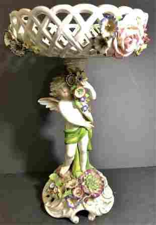 Dresden porcelain angel centerpiece, c.1900