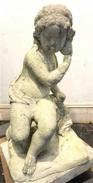 Cement garden sculpture of Putt w/pedestal, c.1900