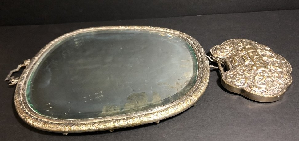 Chinese silver plated mirror, c1900