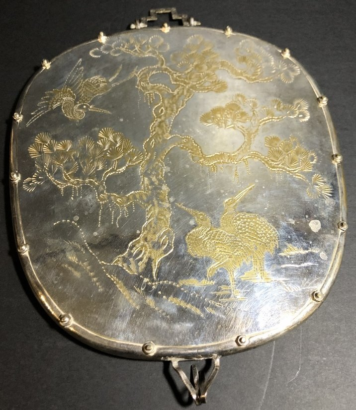 Chinese silver plated mirror, c1900 - 5