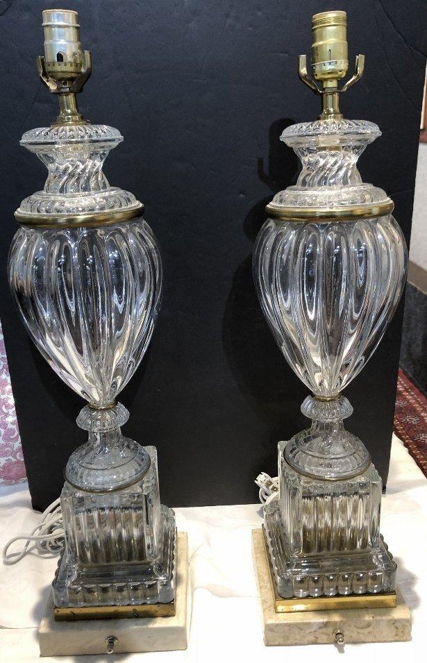Pair of glass lamps, c.1950